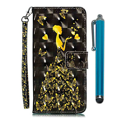 voordelige iPhone 6 Plus hoesjes-hoesje Voor Apple iPhone 11 / iPhone 11 Pro / iPhone 11 Pro Max Portemonnee / Kaarthouder / met standaard Volledig hoesje Vlinder / Sexy dame PU-nahka