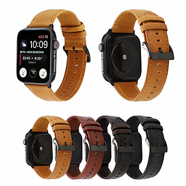 voordelige Smartwatch-accessoires-Horlogeband voor Apple Watch Series 5/4/3/2/1 Apple Zakelijke band Echt leer Polsband