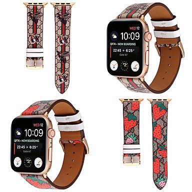 voordelige Smartwatch-accessoires-lederen bandlus met tijgerprint voor Apple Watch-serie 5 4 3 2 1 lederen vervangende riem voor Apple iwatch 44 mm 42 mm 40 mm 38 mm