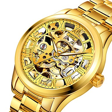 povoljno Remenje za sat od nehrđajućeg čelika-Muškarci Mehanički Satovi Automatski Formalno Style Sa stilom Nehrđajući čelik Srebro / Zlatna 30 m Hollow graviranje Svijetli u mraku Analog Luksuz Moda - Zlatna Gold / Silver Srebro