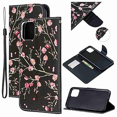 voordelige iPhone-hoesjes-hoesje Voor Apple iPhone 11 / iPhone 11 Pro / iPhone 11 Pro Max Portemonnee / Kaarthouder / met standaard Volledig hoesje Bloem PU-nahka