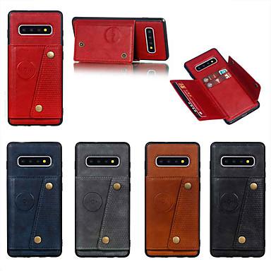 voordelige Galaxy S-serie hoesjes / covers-hoesje Voor Samsung Galaxy S9 / S9 Plus / S8 Plus Kaarthouder / met standaard Achterkant Effen PU-nahka