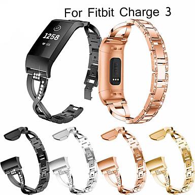 voordelige Smartwatch-accessoires-horlogeband polsband voor fitbit charge 3 metalen roestvrijstalen strass armband polsband