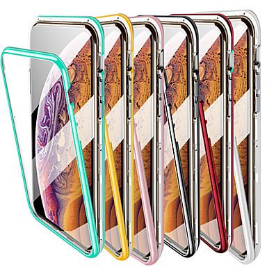 voordelige iPhone-hoesjes-magnetisch hoesje voor iPhone 11 / iPhone 11 Pro Macaron gehard glazen achterkant metalen frame full body slim fit ultradun hoesje voor iPhone XS / iPhone 7 / iPhone 8