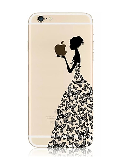 cheap iPhone Cases-Case For Apple iPhone 8 / iPhone 8 Plus / iPhone 7 Transparent / Pattern Back Cover Playing with Apple Logo Soft TPU for iPhone 8 Plus / iPhone 8 / iPhone 7 Plus