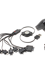 Universele USB Retractable Charger met Car Charger YXT-040