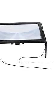 Ultratynd Fuld A4-Side Store Pvc Forstørrelse 3X Sammenfoldelig Forstørrelsesglas Lup Håndfri For Læsning Med 4 Led Lys
