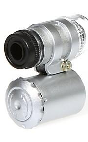 Mini 60X mikroskop med 2-LED belysning Valuta Afsløring UV-lys til iPhone 5/5S (3 * LR1130)