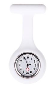 Mulheres Relógio de Bolso lapela Assista Quartzo Silicone Banda Doce Preta Branco Azul Vermelho Rosa Roxa Amarelo Azul Marinho Rose