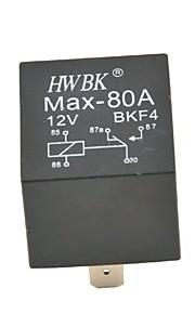 Auto Car Plastic 5 Pins 80A AMP 12V Alarm Relay-Black(12V)