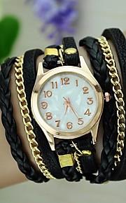 Mulheres Relógio de Moda Bracele Relógio Quartzo corda trançada PU Banda Vintage Boêmio Preta Branco Azul Vermelho Marrom Verde Rosa Roxa