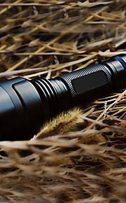 LED Lommelygter LED 200 lm 5 Tilstand Cree XR-E Q5 med batteri og oplader Genopladelig Taktisk Camping/Vandring/Grotte Udforskning Sort