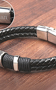 Personalized Gift Men's  Stainless Steel/Leather Bracelets Engraved Jewelry
