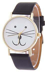 Mulheres Relógio de Moda Bracele Relógio Quartzo Gato PU Banda Desenhos Animados Preta Branco Azul Vermelho Marrom Rosa
