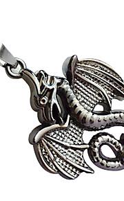 mænds titanium stål skelet halskæde, rustfrit stål vedhæng - brand dragon lædersnor halskæde