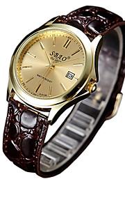 Casal Relógio de Moda Quartzo Relógio Casual PU Banda Amuleto Marrom
