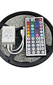 Lyssett 150 LED RGB Fjernkontroll Kuttbar Fargeskiftende Selvklebende Koblingsbar DC 12V DC 12 V