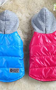 Hund Mäntel Kapuzenshirts Hundekleidung Solide Rot Blau Baumwolle Kostüm Für Haustiere Herrn Damen Lässig/Alltäglich warm halten