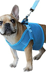 Кошка Собака Ремни Поводки Регулируется / Выдвижной Дышащий Безопасность Однотонный Сетка Черный Лиловый Красный Синий Розовый