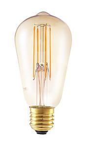 6W E26/E27 LED-glødepærer ST58 4 leds COB Mulighet for demping Dekorativ Ravgult 550lm 2200K AC 220-240V