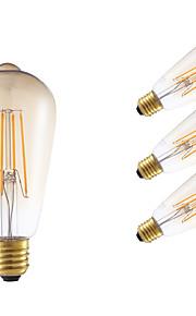 E26/E27 LED-glødepærer ST64 4 leds COB Mulighet for demping Dekorativ Ravgult 350lm 2200K AC 220-240V