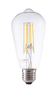 E26/E27 LED-glødepærer ST58 4 leds COB Mulighet for demping Dekorativ Varm hvit 600lm 2700K AC 220-240V