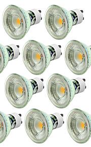 10pcs 5W 550-650lm GU10 Spot LED 1 Perles LED COB Intensité Réglable Décorative Blanc Chaud Blanc Froid 220-240V