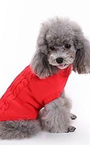 고양이 강아지 스웨터 강아지 의류 솔리드 레드 그린 핑크 밝은 블루 네이비 블루 면 코스츔 애완 동물 남성용 여성용 클래식 따뜻함 유지
