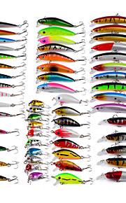 56 pcs خدع الصيد طعم صيد جامد (المنوة) سمك اوروبي حقيبه طعم بلاستيك الطفو الغرق طعم الاسماك