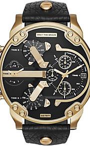 Homens Casal Quartzo Relógio de Pulso Relógio Militar Relógio Esportivo Calendário Mostrador Grande Punk Dois Fusos Horários Aço