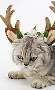 Kat Hond Haaraccessoires Hondenkleding Rendier Bruin Pluche stof Kostuum Voor huisdieren Feest Cosplay Kerstmis