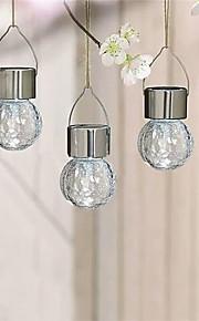4pcs solar ledet rustfritt stål crackle glass hengende lys vei hage lampe