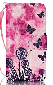 Case For Apple Ipod Touch5 / 6 Case Cover Card Holder Wallet with Stand Flip Pattern Full Body Case  Butterfly Dandelion Hard PU Leather