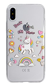 Case For Apple iPhone X iPhone 8 Transparent Pattern Back Cover Word / Phrase Unicorn Soft TPU for iPhone X iPhone 8 Plus iPhone 8 iPhone