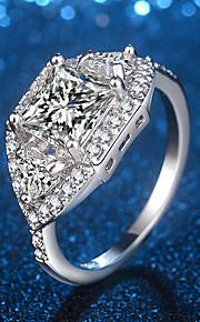 Dame Båndringe Forlovelsesring Kvadratisk Zirconium Rhinsten Kvadratisk Zirconium Smykker Til Bryllup Aftenselskab