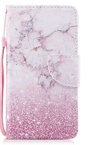 Case For Apple Ipod Touch5 / 6 Case Cover Card Holder Wallet with Stand Flip Pattern Full Body Case  Pink Marble Hard PU Leather