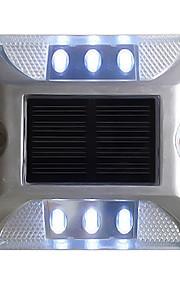 1pcs aluminium solcelle 6-ledet utendørs vei oppkjørselen bakken bakken lys lampe hvit