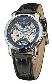WINNER Homens Relógio Elegante Relógio de Pulso relógio mecânico Automático - da corda automáticamente Gravação Oca Couro Banda Luxo