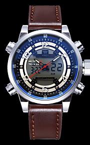 Homens Relógio de Moda Quartzo Calendário Impermeável Couro Banda Luxo Legal Preta Marrom