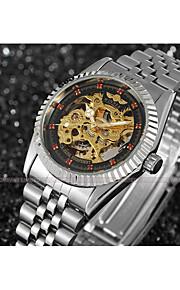 WINNER Homens Mulheres Relógio Elegante Relógio de Pulso relógio mecânico Automático - da corda automáticamente Gravação Oca Aço
