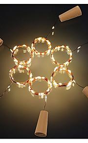 6 stk 2m 20led korkformet flaske stopper lampe glassvin sølv kobber wire streng belysning christmas fest bryllup dekorasjon