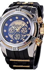 Homens Quartzo Relógio Esportivo Japanês Calendário Cronógrafo Impermeável Silicone Banda Casual Fashion Legal Preta Azul