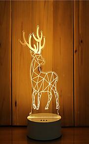 1 sæt 3d stemning nat lys hånd følelse dæmpbar usb powered gave lampe hjorte