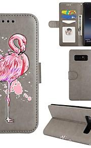 מגן עבור Samsung Galaxy Note 8 ארנק מחזיק כרטיסים עם מעמד נפתח-נסגר גוף מלא פלָמִינגוֹ קשיח דמוי עור ל Note 8