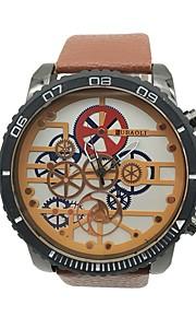 Herre Unik Creative Watch Armbåndsur Kinesisk Quartz Stor urskive Legering Læder Bånd Vintage Sej Orange