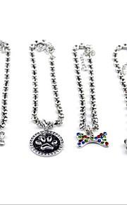 Necklace Ornaments Adjustable Size Foldable Decoration Rhinestone Footprint/Paw Bone Footprint/Paw Metalic Rainbow Silver