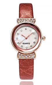 Dame Modeur Kinesisk Quartz Imiteret Diamant Læder Bånd Afslappet Minimalistisk Sort Hvid Blåt Rød Brun Pink Lilla Rose