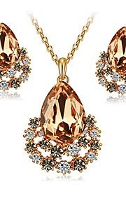 Dame Stangøreringe Halskæde Krystal Syntetisk Diamant Klassisk Mode Elegant Forlovelse Ceremoni Krystal Simuleret diamant Legering Dråbe