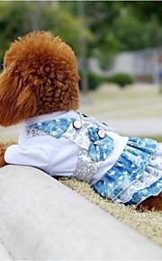 Kat Hund Kjoler Hundetøj Stilfuld Cowboy Farveblok Pailletter Blonde Blå Kostume For kæledyr