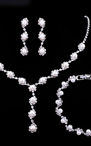 Dame Smykke Sæt Rhinsten Europæisk Mode Elegant Bryllup Fest Imiteret Perle Legering Blomst 1 Halskæde 1 Armbånd Øreringe